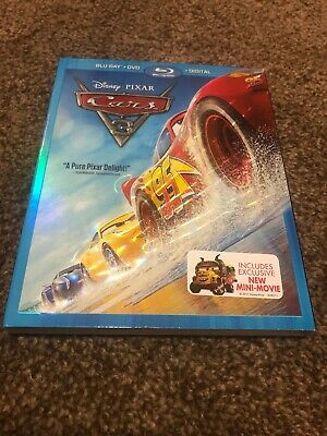 Disney Pixar Cars 3 (Blu-ray + DVD + Digital HD) Movie Like New with Slip Cover