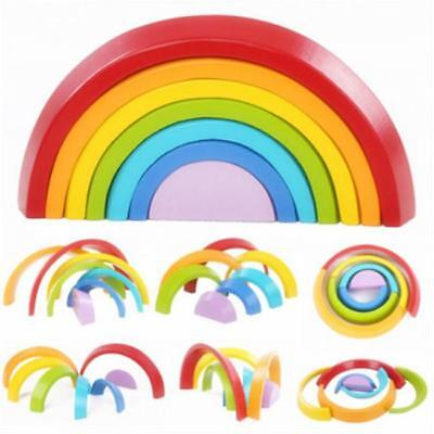 Wooden 7 Colors Stacking Rainbow Blocks Stacking Game Kids Educational Toy LH