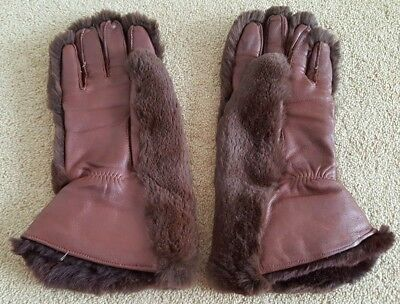 Vintage 1940s Chocolate Brown Leather and Moleskin Fur Gloves