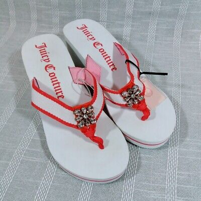 4ed8a81746867 Juicy Couture Jeweled Wedge Flip Flops Size Large 9 10 Pink White Sandals  flaw