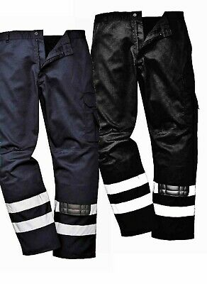 Portwest Iona Safety Combat Trousers Knee Pad Pockets Reflective Workwear S917