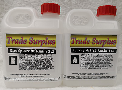 Epoxy Art Resin Kit 1:1 glass/water clear epoxy coating UV FREE FREIGHT 8 Ltr T