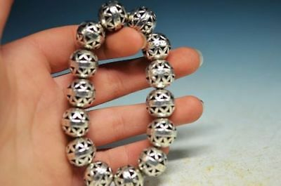 COLLECTABLE RARE CHINA TIBET SILVER HAND CARVED HOLLOW SMALL BALL BRACELET