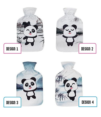Cute Cartoon Panda Print Fleece Cover 2 Litre Hot Water Bottle In 4 Designs