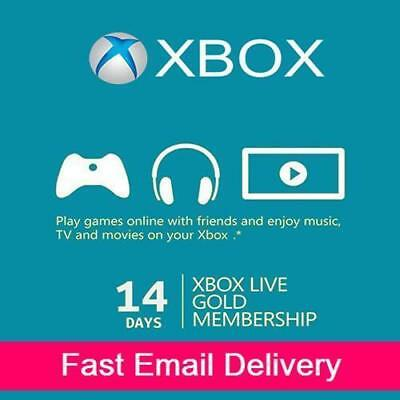 XBOX LIVE 14 Day (2 Weeks) GOLD Trial Membership Digital Code Xbox 360 Xbox One