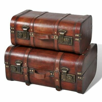 Long Treasure Chest Box Antique Vintage Wooden Trunk Leather  Case Room Decor 2X
