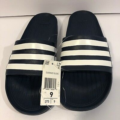 34f2aae149ff8 Adidas Duramo Slide G15892 Navy Blue   White US Size sz 9 10 FREE SHIPPING  NEW