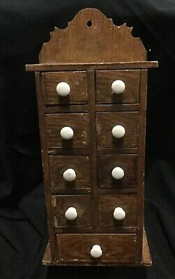 Victorian Large Wood Hanging Spice Cabinet 9 Drawers. B3