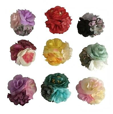 NEW Beautiful Fabric Triple Flower Hair Clip, 9 Pretty Colours, UK Seller