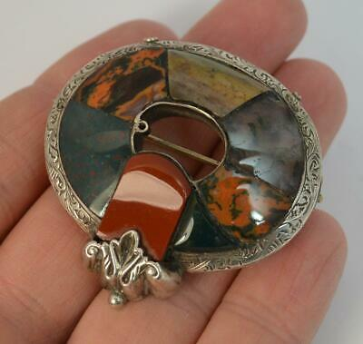 Victorian Solid Silver & Hardstone Agate Brooch