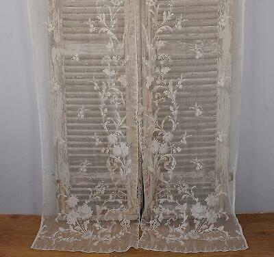 Heavenly Pair Very Long Antique French Lace Curtains / Drapes, Tres Chateau Chic