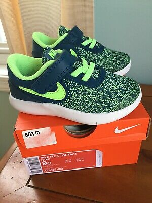 f4c98db5e9 Nib Nike Flex Contact Size 9 Toddler Boys Shoes Blue Force Lime Blast
