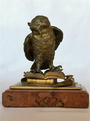 Antique Bronze Statue Owl Standing on Books w Paper & Inkwell Marble Base