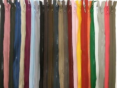 30 Colours 14 Cm To 90 Cm Open Ended Chunky /Heavy Duty Plastic Zip -