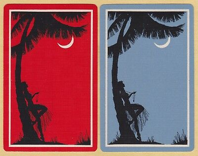 2 Single VINTAGE Swap/Playing Cards LADY PALM MOON SILHOUETTE 'HULA GIRL WS-8-31