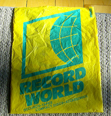 rare vintage 1980s RECORD WORLD retail bag DEFUNCT MUSIC STORE became THE WALL