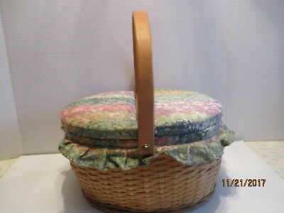 Oval Wood Weaved Floral Fabric Covered 2-Sided Top Hinged Handled Sewing Basket