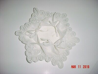 Vintage White Linen & Lace Bread Basket Liner Doily Roll Bun Cover Wrap - Italy