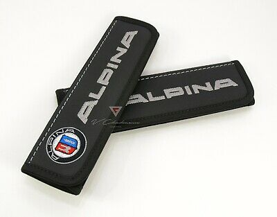 BMW ALPINA Seat Belt Covers Shoulder Pads Embroidery Gray Logo