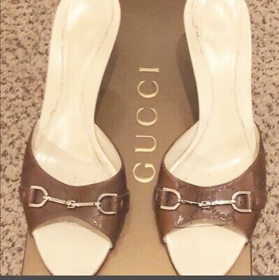 dc63e3581a5 GUCCI Horsebit Brown Guccissima GG Leather Slide Heels Sandals Shoes Size 8
