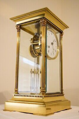L Epee Four Crystal Glass French Clock,Pendule