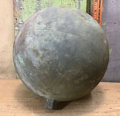 """Vintage Copper Float Ball, 9"""", W/ Threaded Mounting Nut, Steampunk"""