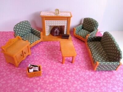 Calico Critters Sylvanian Families Living Room Set With Lighted Fireplace