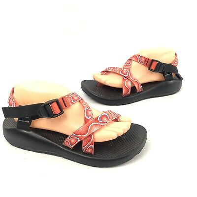 8e6cbbaa5c5c Chaco Classic Comfort Strappy Sandals Shoes Women s Size 10 Red Orange  Snakeskin