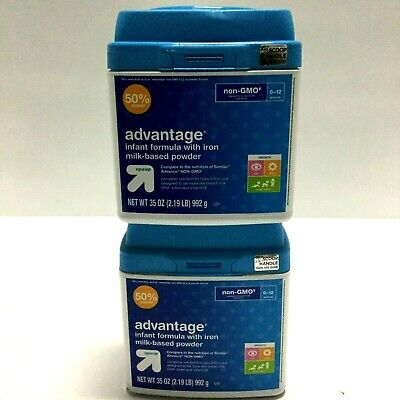 Lot of 2 Up&Up Advantage Infant Formula with Iron, Non GMO, 35 oz May 2019