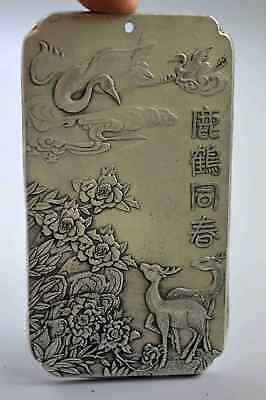 Collectable Chinese Old Art Tibet Miao Silver Carve Crane Amulet Unique Pendant