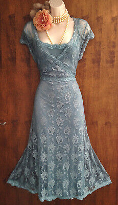 Beautiful 20s/Gatsby MONSOON Camille:duck egg lace embellished Vintage dr 20/22