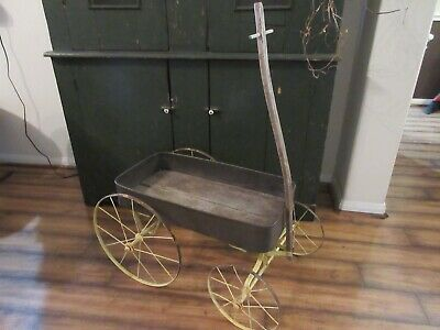 Antique Childs Metal Wood Wagon Wonderful Yellow Paint