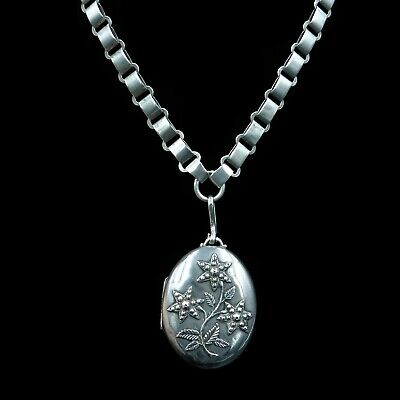 Antique Victorian Aesthetic Flower Large Silver Locket with Book Chain Collar