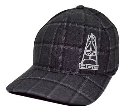 official photos e7b14 26a8c HOOey Hog Foreman Oil Gear Rig Logo Gray Plaid Flex Fit Cap L XL