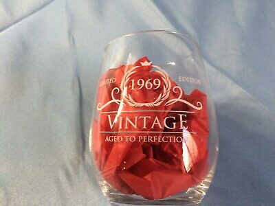 Vintage Aged To Perfection 1969 50th Birthday Funny Gift Wine Glass