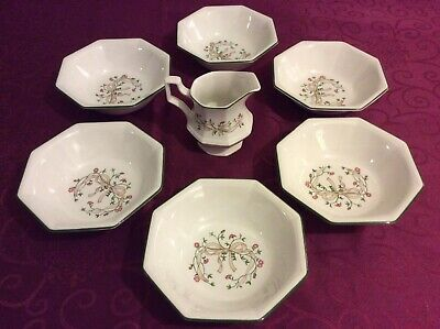 Johnson Brothers Eternal Beau pattern  Six Cereal Bowls And Milk Jug