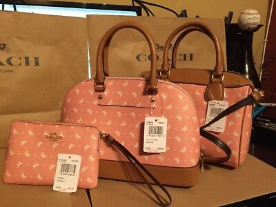 0705984fb3c5 COACH F29806 BUTTERFLY DOT PRINT PINK MINI BENNETT SATCHEL Set Of 3 Pieces
