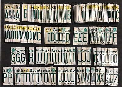 Lot of 209 New Hampshire License Plate Craft Letters Nice Mix A to Z