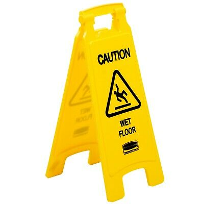 """Rubbermaid Double Sided Safety Sign """"Caution Wet Floor"""" 63.5cm High with handle"""