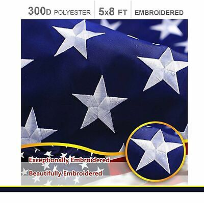 American Flag 300D Embroidered Polyester 5x8 Ft