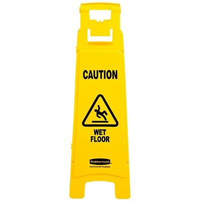 """Rubbermaid Commercial 4-Sided Yellow Safety Floor Sign """"Caution Wet Floor"""""""