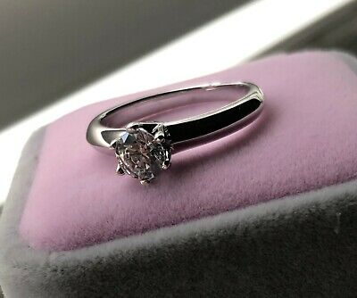 0.75 Ct Round Cut Diamond Solitaire Engagement Ring 14K White Gold Enhanced