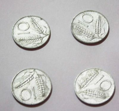 6673cc3c69 Lotto 4 Monete Rare 10 lire 1954 spighe Italia numismatica COIN COLLECTION