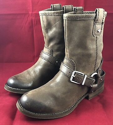 3fc52bba1bb GIANNI BINI WOMEN'S 7M Brown Leather Ankle Boots w/ Buckle & Ring New Old  Stock