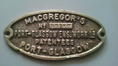 """Antique Brass Ships Brass plate,from """"Macgregors"""" -Port Glasgow with No BG 137."""