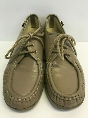 f73daaf5a3 SAS Siesta Womens 7 M Handsewn Leather Lace Up Moccasin Shoes Beige Tan