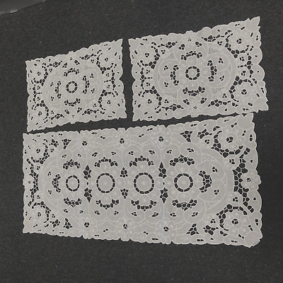 White Linen  Hand Embroided Doylies    (3 Piece Set)    $49.95