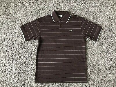 LACOSTE POLO 6 SIX BROWN STRIPED SS SHIRT golf tennis country club large rugby