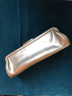c47ac74806dc Ann Taylor Leather Gold Lamé Clutch Bag Handbag Purse Snap Closure Pre-owned