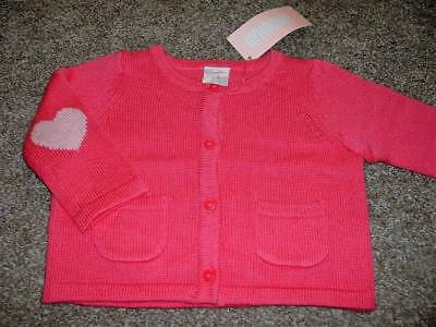 Gymboree Baby Girls Birds & Dinos Pink Heart Sweater Size 0-3 Months mos NWT NEW